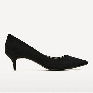 Zara pointed kitten heels
